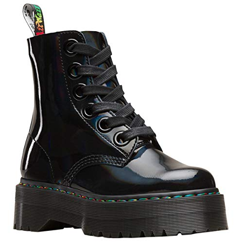 Dr Martens Women's Quad Retro Molly Platform Lace Up Boot Black Rainbow