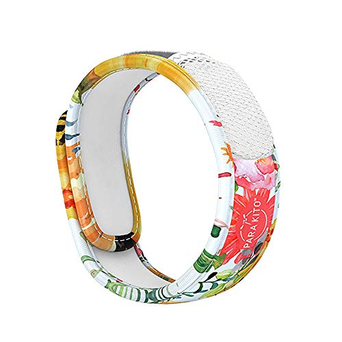 PARA'KITO Mosquito Insect & Bug Repellent Wristband - Waterproof, Outdoor Pest Repeller Bracelet w/ Natural Essential Oils (Flowery)
