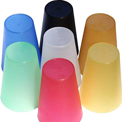 P-D-W 28 Kunststoff-Becher 350 ml mehrweg bruchsicher Mehrfarbig stapelbar Party-Wasser-Trink-Becher Plastik-Mehrweg-Becher
