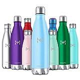 HOMPO Bottiglia Acqua in Acciaio Inox - Borraccia Termica Isolamento Sottovuoto a Doppia Parete,Privo di BPA & Leakproof,Borracce per Bambini, Bici, Palestra(Blu,500ml)