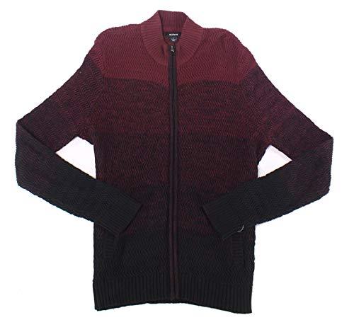 Alfani Men's Red & Black Ombre Rib-Knit Full Zip Sweater S BHFO 2470