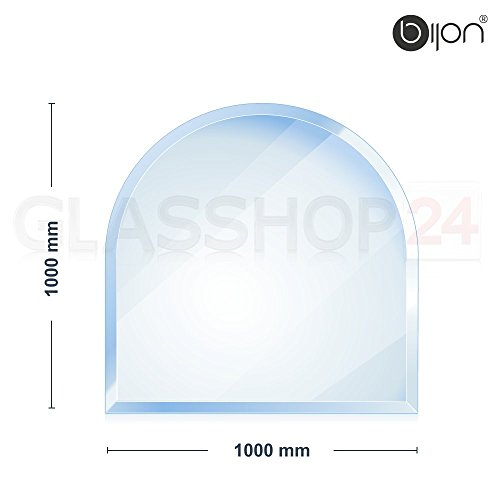 bijon® - 6mm Kamin Glasbodenplatte - Rundbogen 1000 x 1000mm - 18mm Facette
