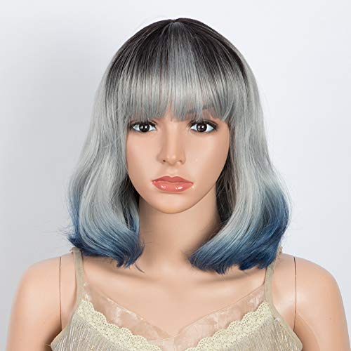 DÉBUT Long Bob Wigs Beach Wave Lob Wigs Synthetic Hair Replacement 13 inches 152g Flat Fringe Bangs (3TBL: GREY with Dark Root and Blue End)