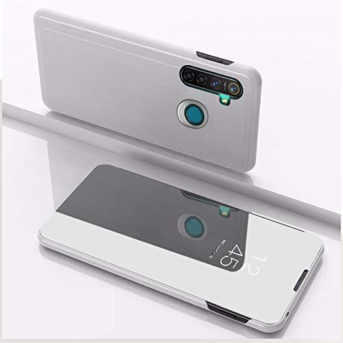 SWMGO® Spiegel Überzug Flip Hülle für Oppo Realme 5 Pro (Silber)