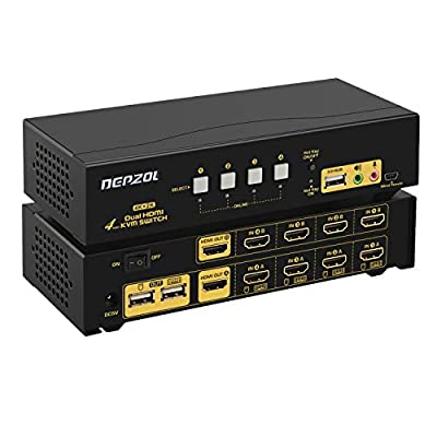 HDMI KVM Switch 4 Port Dual Monitor Extended Display 4K@30Hz, DEPZOL Dual View 4 in 2 out PC Monitor Keyboard Mouse Selector Box with Audio Microphone Output and USB 2.0 HUB