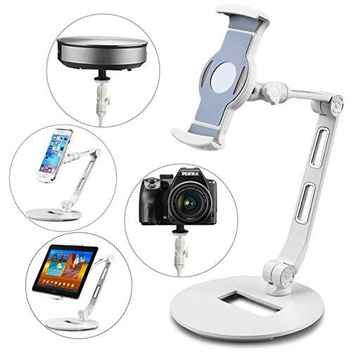 suptek Supporto da Tavolo in Alluminio per Tablet per iPad, iPhone, Samsung, ASUS e Altri Dispositivi da 4,7-11 Pollici, Flessibile a 360°, Adatto per Letto, Cucina, Ufficio YF208DW