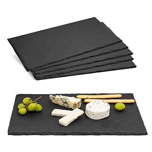 Bandeja de Pizarra Natural Negra para Aperitivos, Tabla de Quesos, Embutidos. Menaje Económico. (20x40 cm, SET 3)