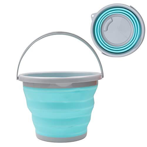 Cubo de Agua Plegable Plástico Silicona 10 Litros por Kurtzy - Balde 2,5 Galones Plegable para Pescar, Acampar, Senderismo y Lavar el Coche - Cubo Grande con Asa