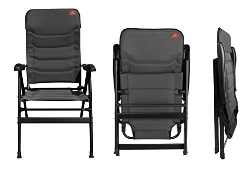 osoltus Comfort Plus - Silla plegable de aluminio para camping, color negro