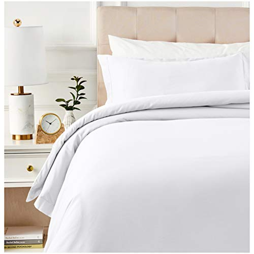 Amazon Basics 400 Thread Count Cotton Duvet Cover Set with Sateen Finish - Twin, White