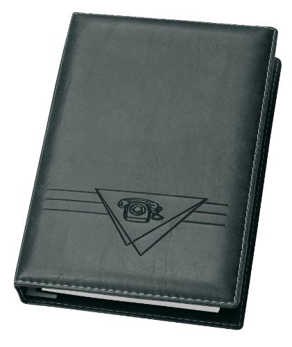 Veloflex 4150780 Telefonringbuch Exquisit Adressbuch, 4-Ring-Mechanik, 145 x 225 mm, mit Register, schwarz
