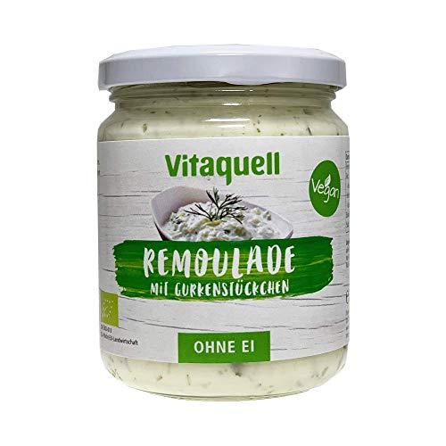 Vitaquell Vegane Bio Salat Remoulade mit Gurkenstückchen, 250 ml ohne EI, ohne Milch und ohne Gluten. Perfekt für die kreative Küche.