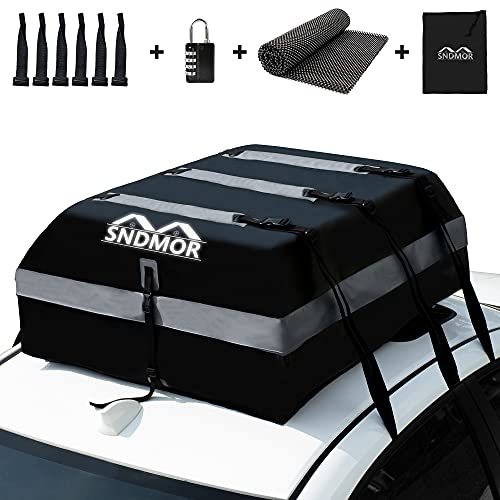 SNDMOR Dachboxen,21 Kubikfuß wasserdichtes Dachgepäck, Dachgepäcktransporttasche,passend für alle Fahrzeuge mit/ohne Gepäckträger, inklusive Antirutschmatte + 6 Verstärkungsgurte + 6 Türhaken