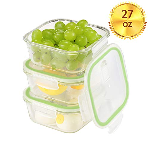 Square Glass Meal Prep Containers[3-Pack, 27oz],Airtight Glass lunch Containers with Lids,Glass Food Storage Containers BPA-Free,Microwave, Oven, Freezer, Dishwasher Safe