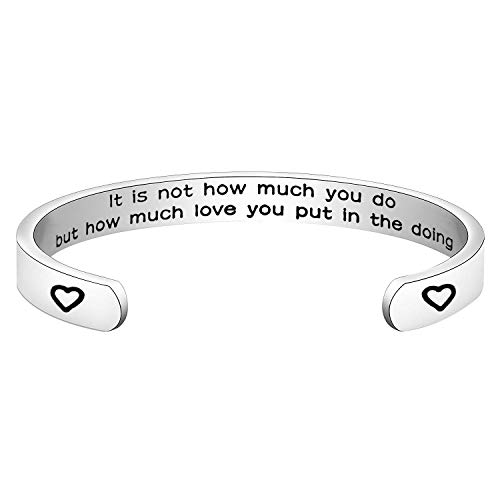 HOLLP Appreciation Gift Mother Teresa Quote It is Not How Much You Do But How Much Love You Put in The Doing Bracelet Bangle Thank You Teacher Nurse Mother Gifts (Silver)