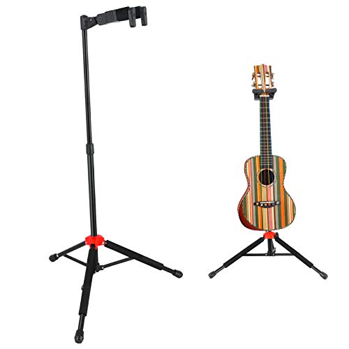ROWELL Ukulele Stand Ukelele Stand Portable Height Adjustable with Automatic Locking Hook &Soft Pad Material