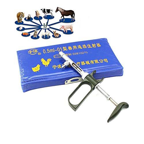 Jeringa veterinaria Jeringas continuas para equipos avícolas, jeringas 0.5ML / 1ML / 2ML / 5ML adecuadas para pollo, ganso, ajustadas a 0.05ML-0.5ML por compartimento, Jeringas continuas para aves,5ml