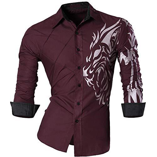 RIQWOUQT Hombre Floral Camisa Manga Larga,Patrón De Plata Rojo Personalidad Street Camisa Hombres Casual Primavera Otoño Personalidad Jeans Camisa De Manga Larga Casual Delgada Hombres Adecuado Par