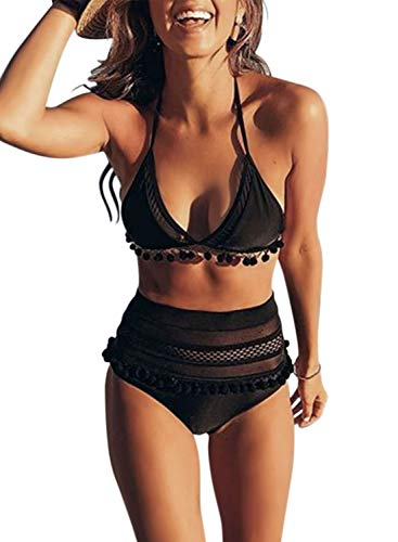Dokotoo Womens Ladies Sporty Athletic Vintage Cute High Waist Halter Padded Two Pieces Fashion Bikini Top Set Solid Bathing Suit Swimsuit Swimwear with Mesh Bottoms Large