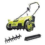 Sun Joe AJ805E 15 inch 13 Amp Electric Scarifier + Lawn Dethatcher w/Collection Bag, Green