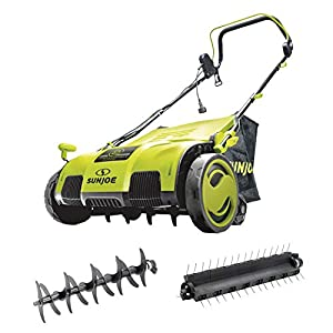 Sun Joe AJ805E 15-Inch 13-Amp Electric Dethatcher and Scarifier w/Removeable 13.2-Gal Collection Bag, 5-Position Height Adjustment, Airboost Technology Increases Lawn Health, Green