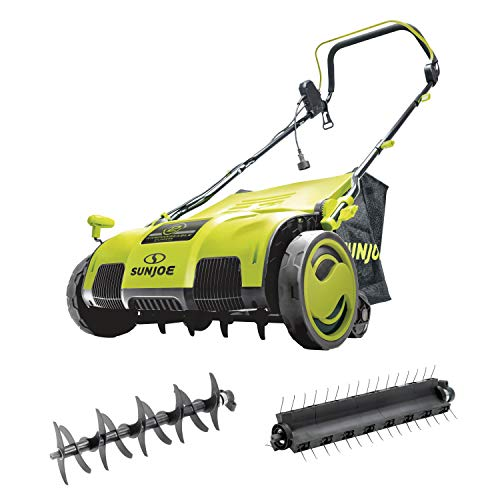 Sun Joe AJ805E 15 inch 13 Amp Electric Scarifier + Lawn Dethatcher w/Collection Bag, Green
