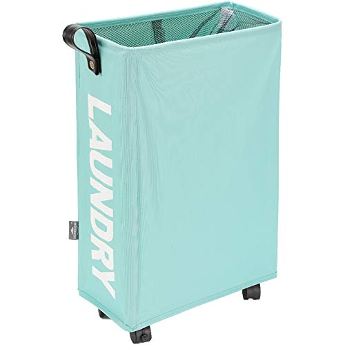 DOKEHOM Großen Faltbare Wäschekörbe mit Rad, Zusammenklappbaren Wäschesäcke, Kleider Tasche (Hellblau, M) EINWEG