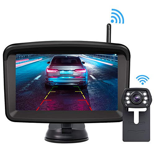 Xroose Wireless Backup Camera and Monitor Kit 5' HD Screen License Plate Camera with Frame IP69K Waterproof Rear View Camera with Parking Lines 152° Viewing Angle …