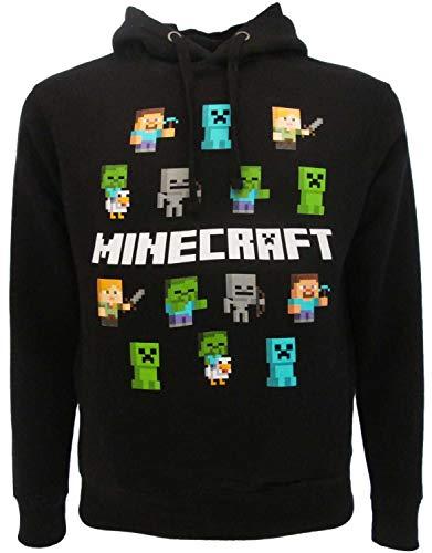 Original-Sweatshirt für Erwachsene und Jungen, Alex Steve Zombie Creeper mit Kapuze und Taschen, Schwarz, Schwarz S