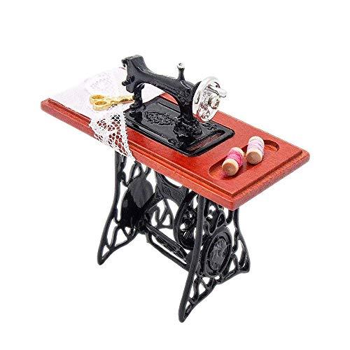 Odoria 1/12 Miniatur Vintage Nähmaschine Für Puppenhaus Dekoration Zubehör