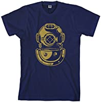 Threadrock Men's Deep Sea Diver Helmet T-Shirt 2XL Navy