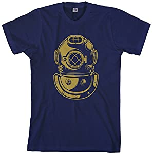 Threadrock Men's Deep Sea Diver Helmet T-Shirt 2XL Navy