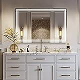 IDÉOVIE Miroir Salle de Bain LED 80x60cm, Miroir Salle de Bain avec Éclairage Intégré, Interrupteur Tactile + Fonction de Mémoire + Système Anti-Buée sont de Série, Lumière Blanc(6500K)