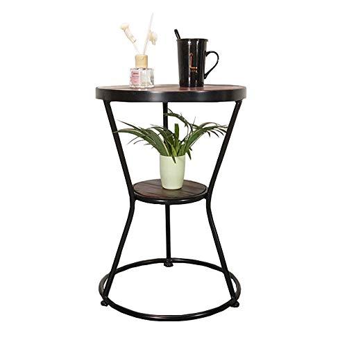 Zaixi Noir Petit Rond Table d'appoint Canapé 2 Étages en Bois Massif Pieds Iron Art avec Tablette de Rangement 43 x 43 x 62 cm. Forte capacité portante