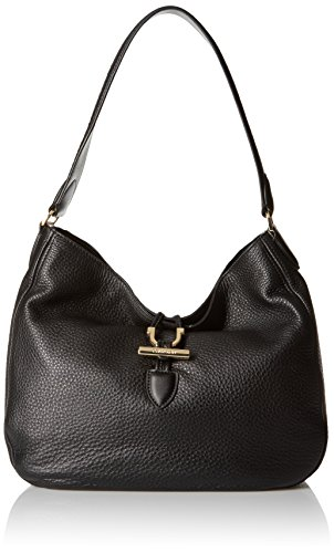 Hobo-style shoulder bag in pebbled leather finish featuring CK logo-engraved toggle closure