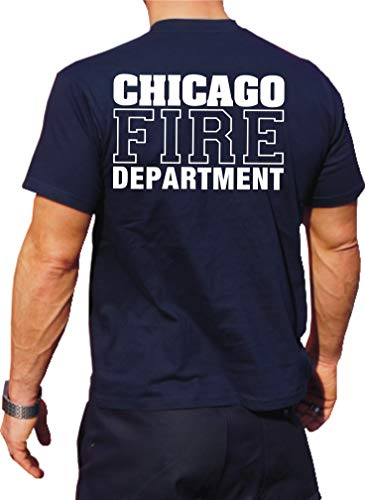 feuer1 T-shirt fonctionnel Navy avec protection UV 30+, Chicago Fire Dept, inscription blanche avec emblème standard XL bleu marine