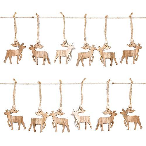 Logbuch-Verlag 12 Holzanhänger Weihnachten RENTIER HIRSCH ELCHE Weihnachtsanhänger Anhänger Christbaum Geschenkanhänger natur Holz Hänger