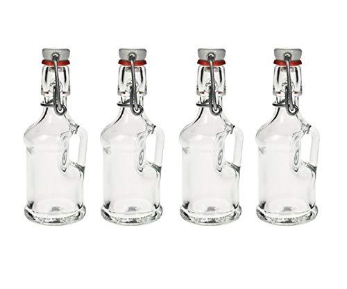 Hocz Smoothie BV - Juego de botellas de cristal (4/6/10, 40 ml, con cierre de clip, para rellenar), vidrio, 4 unidades