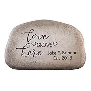 """Fox Valley Traders Personalized Love Grows Here Garden Stone Custom Lawn Décor Cement 11 ¾"""" Wide x 7 ½"""" High"""