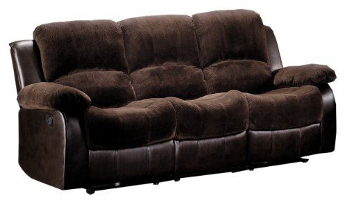 Homelegance Resonance 83' Microfiber Double Reclining Sofa, Dark Brown