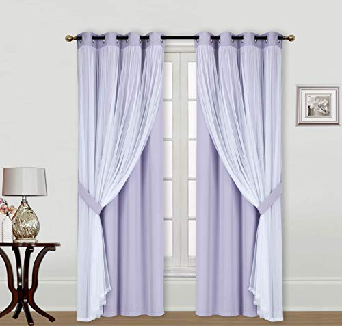 """ECM. Catarina Layered Solid Blackout and Sheer Window Curtain Panel Pair with Grommet Top 2 Layered (Lilac, 2PC 52"""" x 84"""")"""