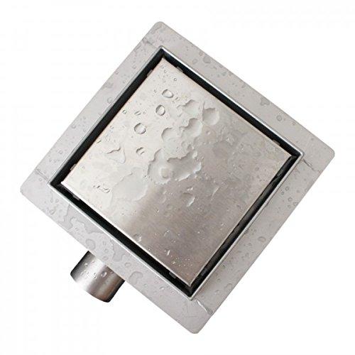 Edelstahl-Duschrinne T02 Bodenablauf für Duschkabine - inkl. Ablaufblende - Größe wählbar, Größe:15 x 15 cm