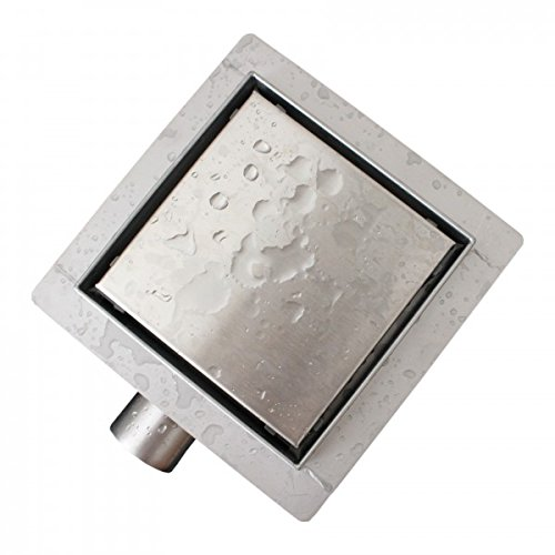 Edelstahl-Duschrinne T02 Bodenablauf für Duschkabine - inkl. Ablaufblende - Größe wählbar, Größe:13.5 x 13.5 cm