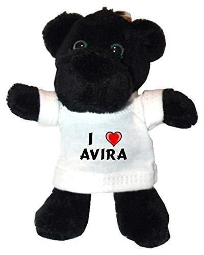 SHOPZEUS Plüsch Schwarzer Panther Schlüsselhalter mit T-Shirt mit Aufschrift Ich Liebe Avira (Vorname/Zuname/Spitzname)