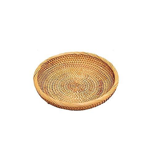 Accesorios diarios tejidos bambú fruta plato vid fruta cesta sala de estar ronda Snack plato de fruta seca ed 19 * 3 cm