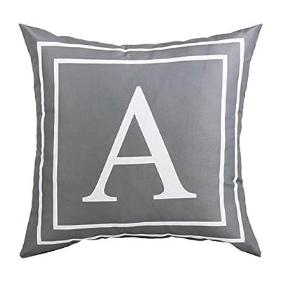 Fascidorm Gray Pillow Cover English Alphabet A Throw Pillow Case Modern Cushion Cover Square Pillowcase Decoration for Sofa Bed Chair Car 18 x 18 Inch