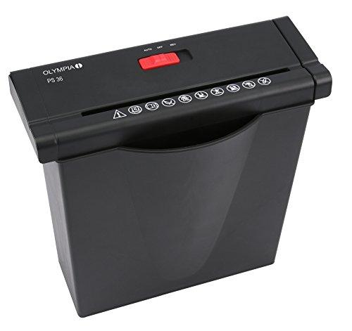 Olympia PS 36 Papierschredder Büro (Streifenschnitt, Sicherheitsstufe P2, Automatischer Einzug, Papiervernichter mit Papierkorb, Dokumenten-Shredder mit Teleskoparm) schwarz