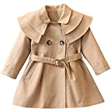 Toddler Baby Girls Trench Coat with Belt Lapel Double Breasted Jacket Dress Coats Kids Fall Winter Windbreaker Outwear (Khaki, 3-4 Years)
