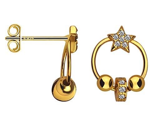 SOFIA MILANI Pendientes Mujer Estrellas Bolas Plata de Ley Chapados en Oro Amarillo 20633