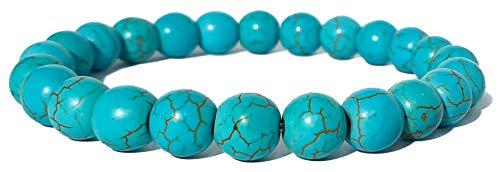 Pulsera elástica para hombre y mujer, con piedras preciosas naturales de 8 mm, para reiki, idea de regalo de cumpleaños, original difusor de energía para curar el equilibrio azul turquesa